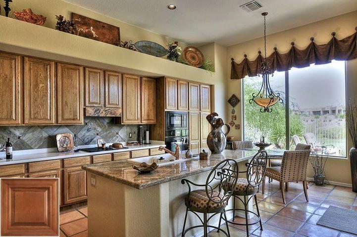 Consider - glaze on honey oak cabinets.   Kitchen island ...
