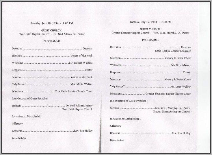 Church Anniversary Program Sample Prayer Breakfast Pastor