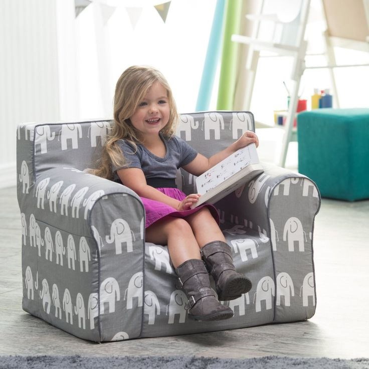 Here and There Kids Chair - Gray Elephant - Kids Upholstered Chairs at Hayneedle