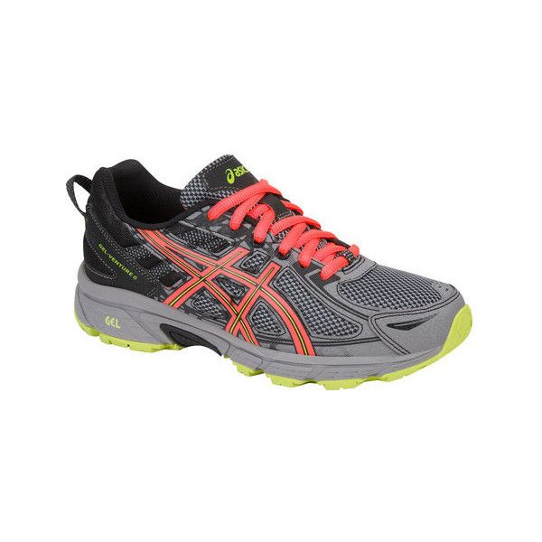 Women's ASICS GEL-Venture 6 Trail Running Shoe (€37) ❤ liked on Polyvore featuring shoes, athletic shoes, athletic, lime green athletic shoes, special occasion shoes, asics athletic shoes, black shoes and mesh athletic shoes