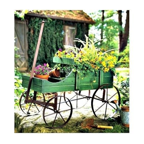 Garden Wagon Planter Decor Wooden Wheelbarrow Decorative Amish Outdoor Patio