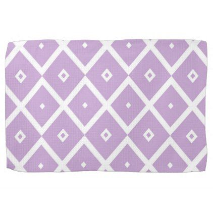Abstract geometric pattern - purple. hand towel - white gifts elegant diy gift ideas