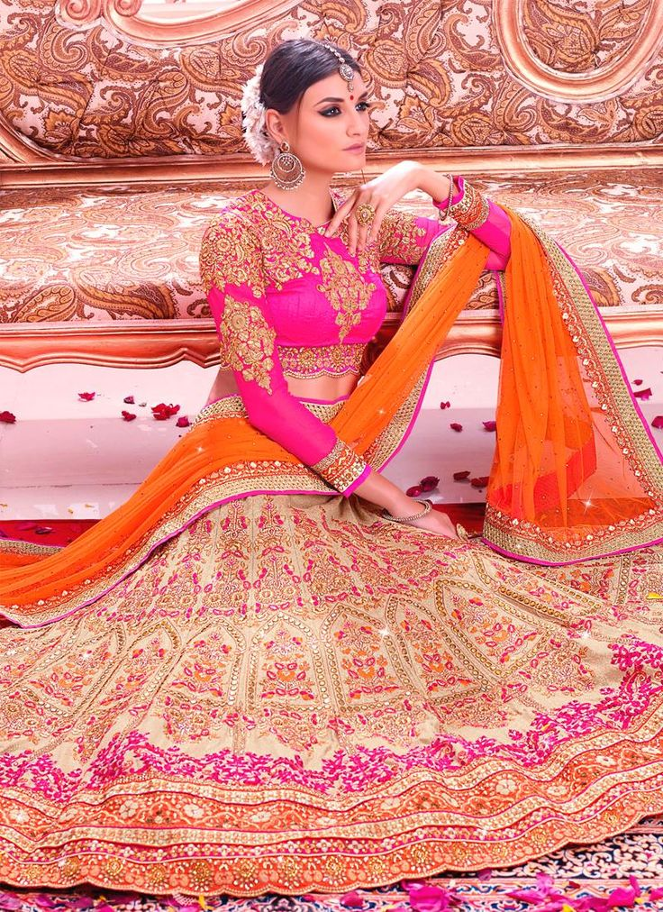 Wide range of lehenga choli available online. Buy this unique embroidered and patch border work a line lehenga choli for bridal and wedding.