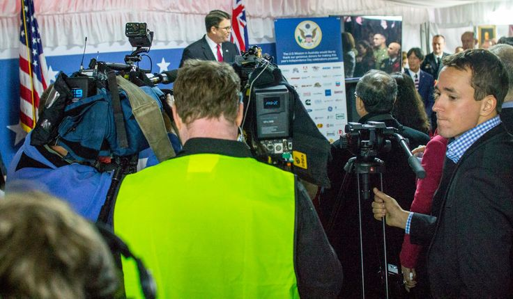 """Ambassador Berry addresses the Independence Day guests and """"Media scrum""""  to deliver his #FourthofJuly speech #July4CBR"""