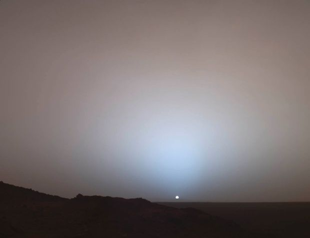 Sunset over the rim of Gusev Crater.