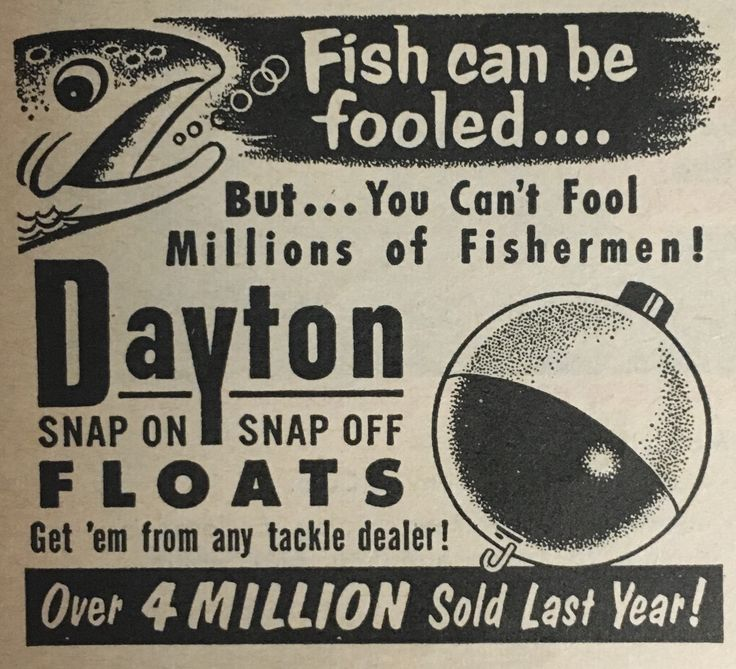Vintage Fishing advertisement for Dayton Snap On Snap Off Floats in a Sports Afield 1953 Magazine.