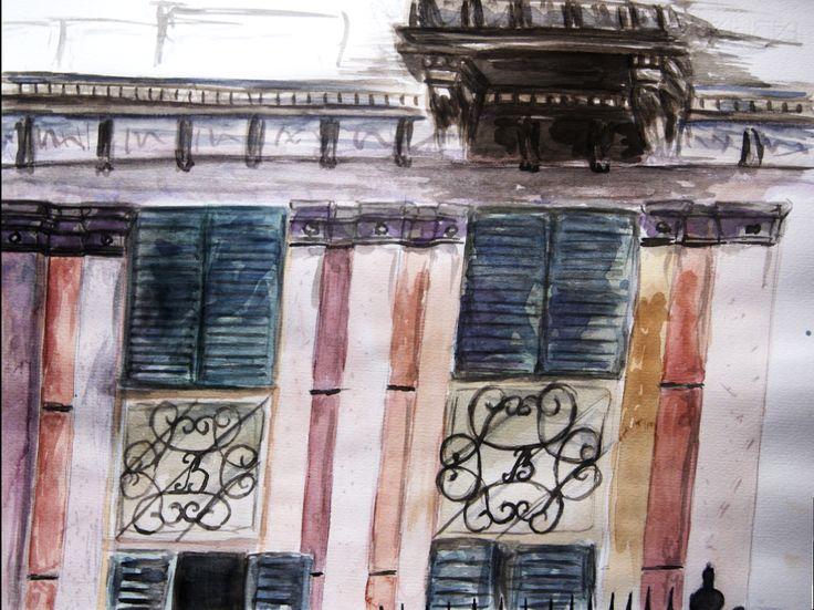 """""""Casa Bossi"""" by Alessandro Antonelli - sketch #1 - watercolour on paper"""