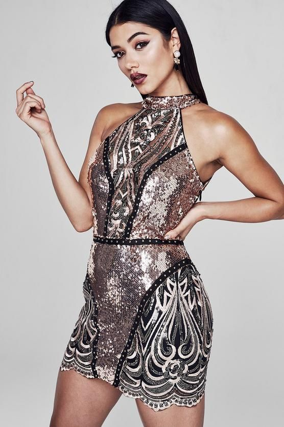 99334327 Preimum Lauren Halter Neck Sequin Mini Dress in 2019   Winter ...