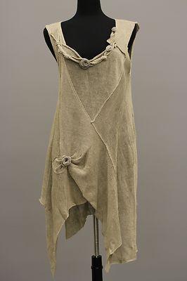 Zuza Bart Designer Artsy Lagenlook Linen Knit Floral Tunic Rose Beige $615   eBay