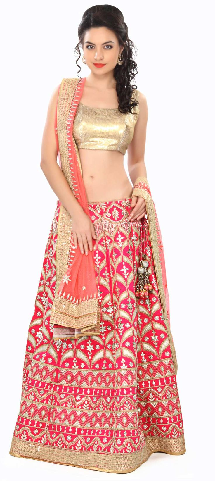 Buy Online from the link below. We ship worldwide (Free Shipping over US$100) Price - $869.00 Click Anywhere to Tag  http://www.kalkifashion.com/fuchsia-pink-lehenga-adorn-in-applique-embroidery-only-on-kalki.html