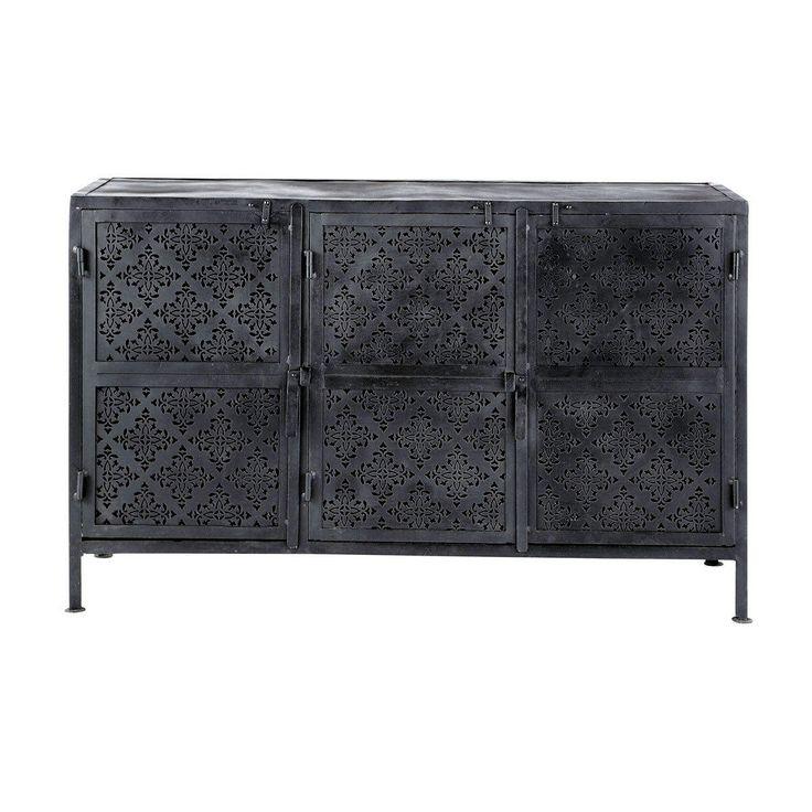 MENARA Buffet 3 portes métal noir - H 80 x L 130 x PR 43 - Meuble en métal Finition : noire patinée vieillie Portes à motifs ajourés