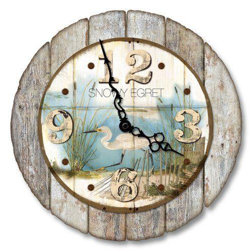 "12"" Beach Wall Clock - Snowy Egret Coastal Bird Rustic Tropical Decor  #Beach #Bird #Clock #Coastal #Décor #Egret #Rustic #RusticWallClock #Snowy #Tropical #Wall The Rustic Clock"