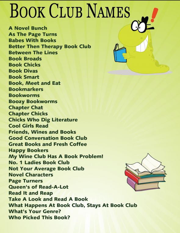 Names of Book Clubs found at Squidoo