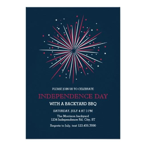 Big Fireworks 4th Of July Invitation