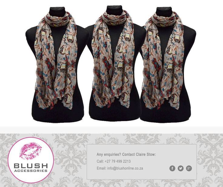 We love our owl scarves - the stylish woman's go-to #accessory. Pop in at our Blush stores and see our beautiful selection of #scarves for yourself.