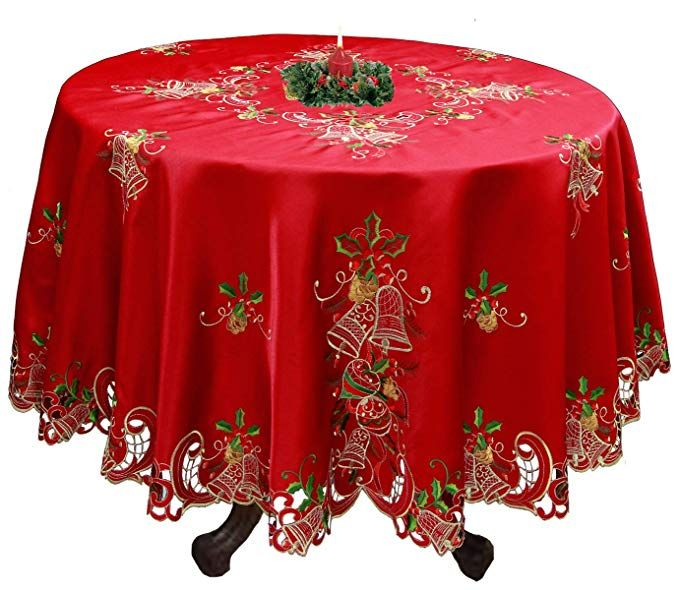 """60/"""" Round Embroidered Embroidery Polyester Satin Fabric Tablecloth 6 Napkins"""