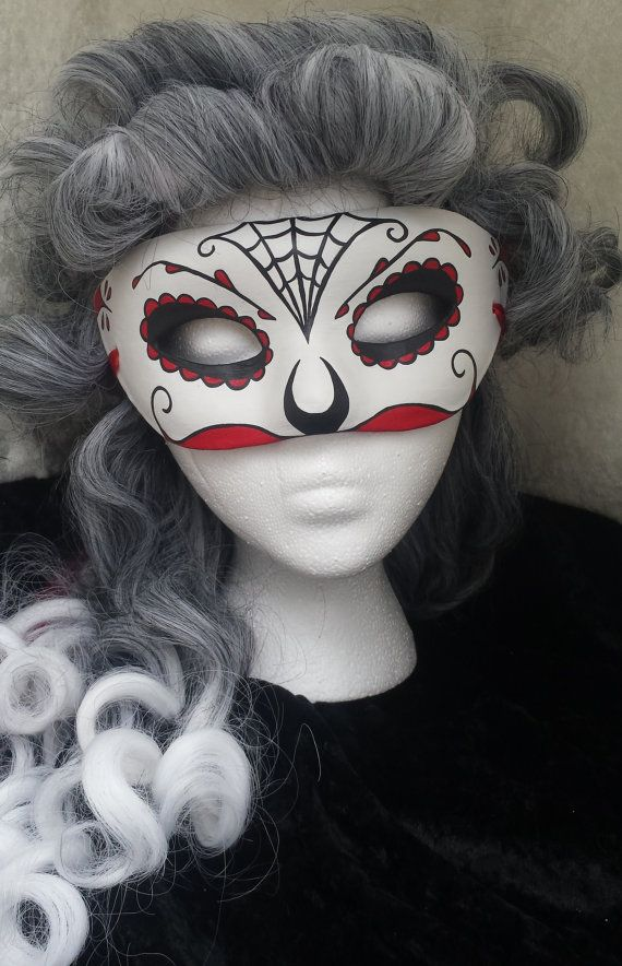 Day of the Dead Mask Red Mustache by EquinoxMasquerade on Etsy
