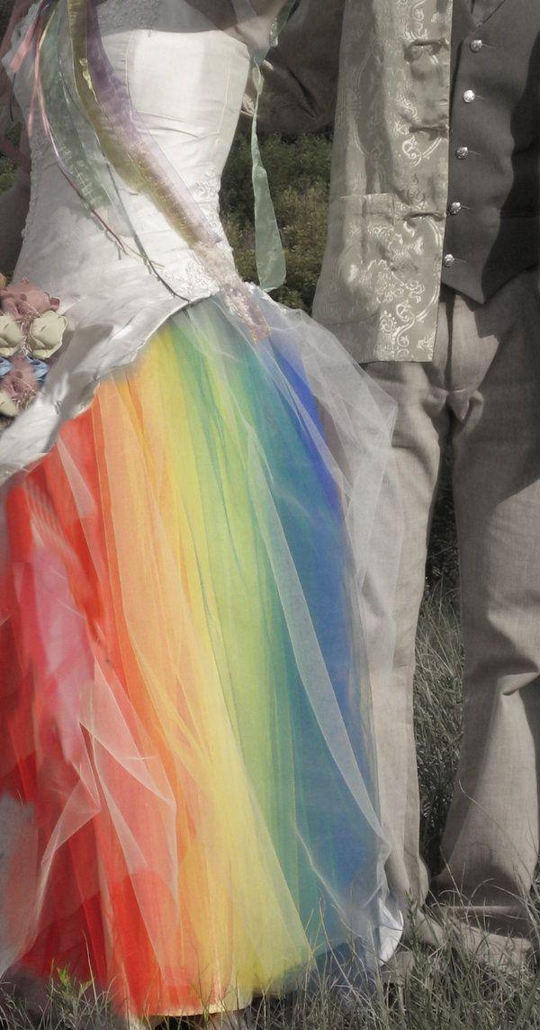 Rainbow Wedding Dress.: Wedding Dressses, Idea, Tulle Skirts, Rainbows Dresses, Rainbows Wedding Dresses, Most Popular Pin, Rainbows Theme, Rainbows Colors, Get Married