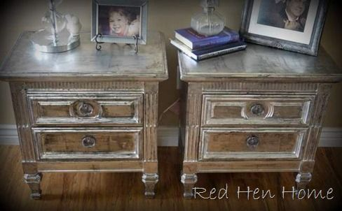 aluminum foil decoupaged onto furniture then washed with brown or black paint for a glam look!