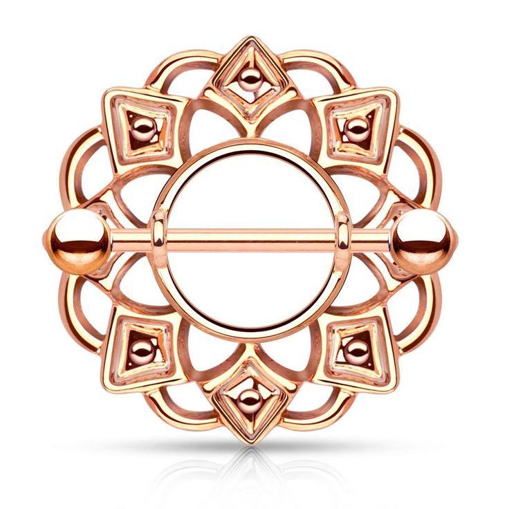 Rose Gold Tribal Flower Nipple Shield
