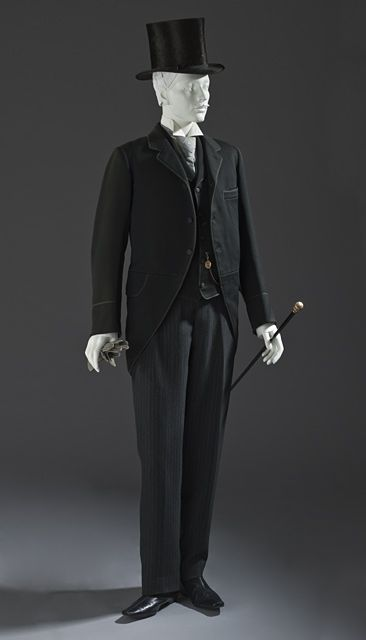 1880 Morning Coat and Vest  Place: England  Costume/clothing principle attire/upper body, Wool twill with wool braid trim