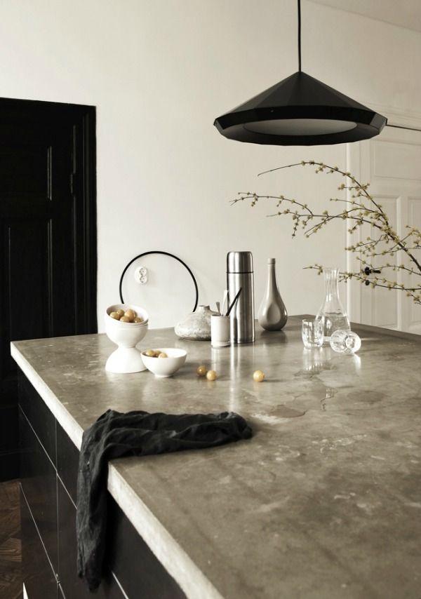 concrete counters ontop of black cabinets Like and Repin.  Noelito Flow instagram http://www.instagram.com/noelitoflow