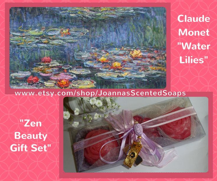 """Water Lilies (or Nymphéas) is a series of approximately 250 oil paintings by the famous Impressionist painter Claude Monet. Inspired by this painting, I created my """"Zen Beauty Gift Set"""", a wonderful Purple - Lilac - Violet Zen Handmade Gift Set with 3 pink Luxury Scented Soaps in rose scent, and a very elegant Handmade Jewelry Necklace (Gold-color and Violet-Purple) in the packaging. A special gift for your Mother, your Wife, your Girlfriend, your Daughter, your Grandmother, Your Aunt, any…"""