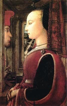 """LIPPI. """"Il Ritratto di donna con un uomo al davanzale"""". tempera su tavola . 64,1x41,9 cm. 1435 e il 1436 circa. Metropolitan Museum of Art, New York."""