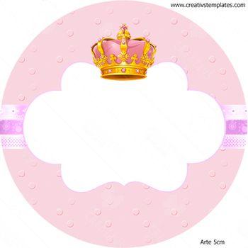 Arte 5cm para latinha Coroa Rosa