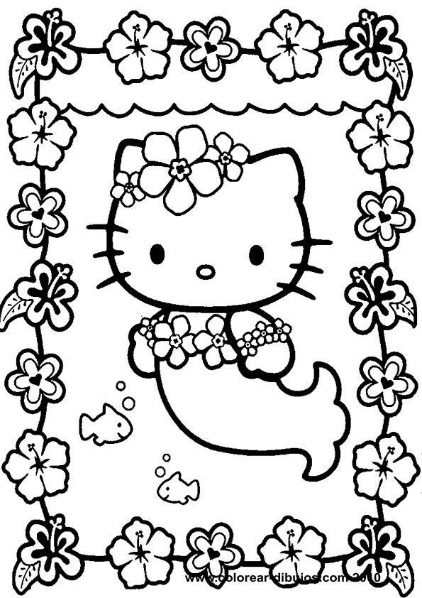 Mermaid Cat Coloring Page Youngandtae Com In 2020 Hello Kitty Colouring Pages Hello Kitty Coloring Kitty Coloring