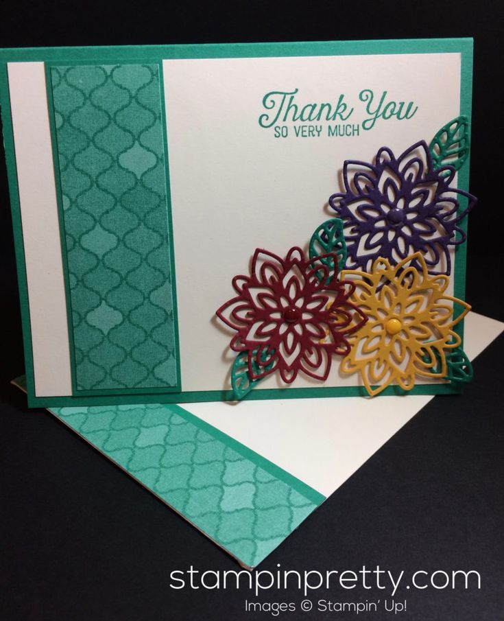 Flourishing Phrases stamp set and thinlits dies thank you card.  Mary Fish, Stampin' Up! Demonstrator.  1000+ StampinUp & SUO card ideas.  Read more http://stampinpretty.com/2016/10/inspired-by-color-flourishing-phrases.html