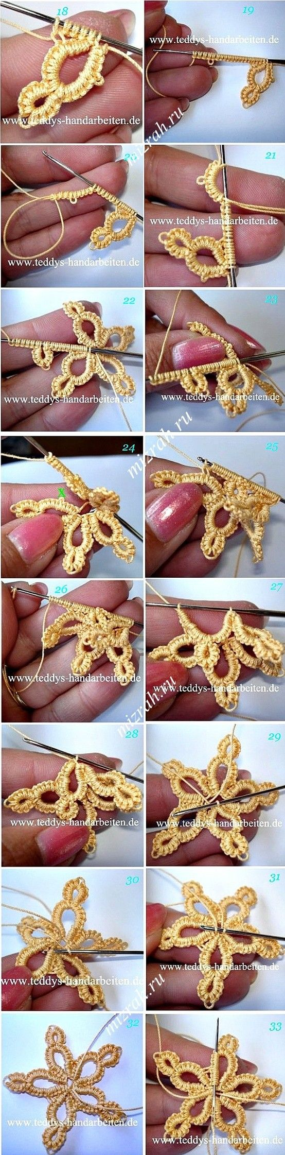 Nice clear pics for star. Irish crochet maybe?
