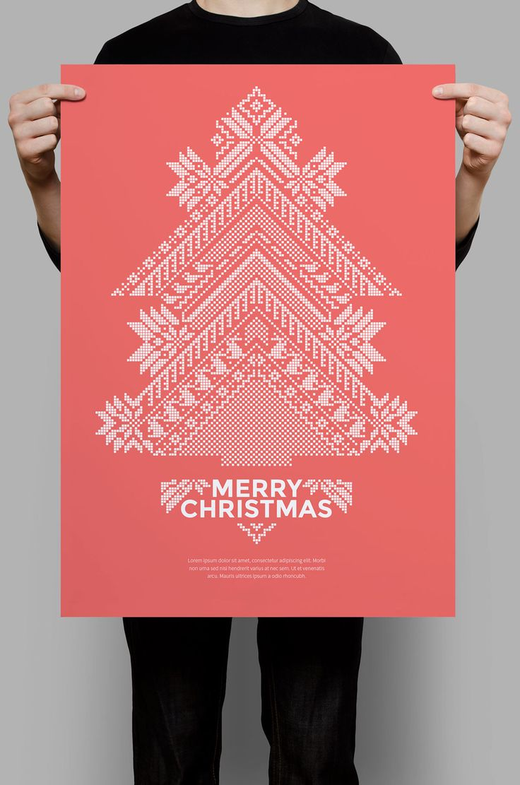 Pixels Red Christmas Flyer on Behance