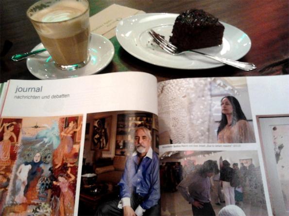 ART magazine with my latte and chocolate cake