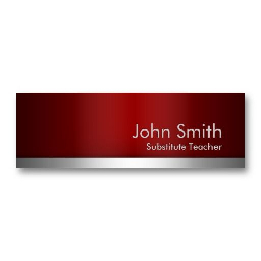 20 best substitute teacher business cards images on pinterest card red metal substitute teacher business card colourmoves