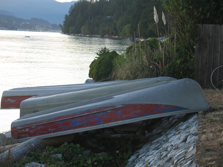 Some of the many boats tied to the rock wall along the beach at Davis Bay