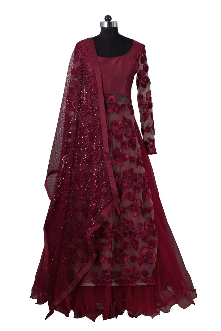 Rumena Special: Burgundy floral lehenga #indianfashion #saree #anarkali #lehenga #bollywood #indianoutfits #indianwedding #indianweddingdress #indianweddingoutfits #custommade #designdevelopdeliver #buycustom #indiaboulevard