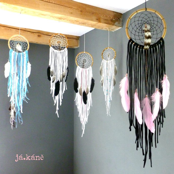 Dreamcatcher black pink feathers tribal natural handmade home decor boho bohemian bedroom wall hanging by jakanestudio on Etsy