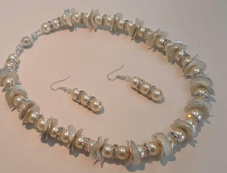 Pearls and Rhinestone Necklace Set by NacarDesignStudio on Etsy