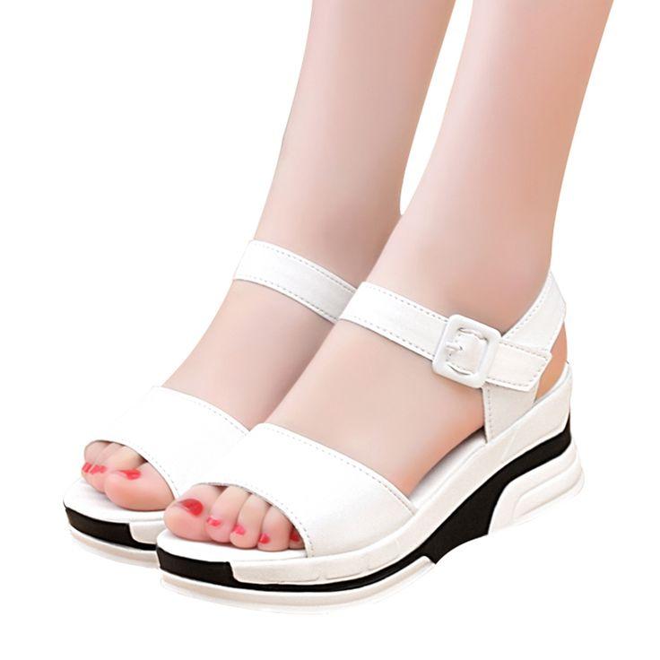 2017 Verano zapatos de mujer Sandalias de Plataforma de Las Mujeres Casuales de Cuero Suave Del Dedo Del Pie Abierto Gladiador cuñas Zapatos mujer Zapatos mujer X6 en Sandalias de las mujeres de Zapatos en AliExpress.com   Alibaba Group