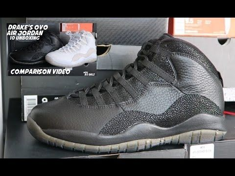 Unboxing Drake Air Jordan OVO 10 Black Sneakers + Comparison With White ...