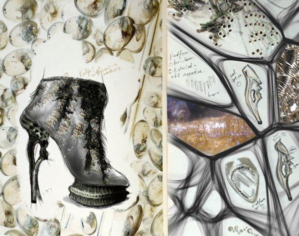 Fashion Sketchbook - organic futuristic footwear design, sketch book pages - fashion illustration; fashion portfolio // Anastasia Radevich