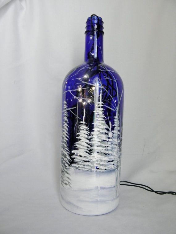 Wine Bottle Light Blue Glass-Winter Scene-Night Light Lamp