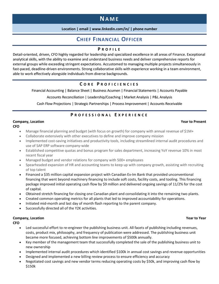 chief financial officer cfo resume samples template