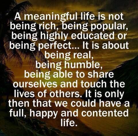 A Meaningful Life...Is Not Being Rich, Being Popular