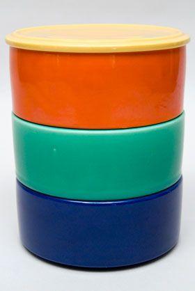 Kitchen Kraft Stacking Refrigerator Set with Lid in All Original Vintage Fiesta Kitchen Kraft Colors!