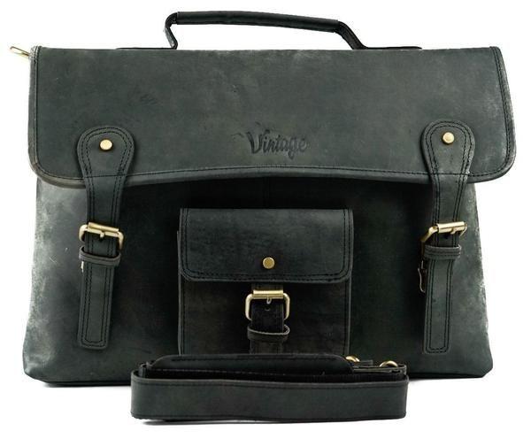 Vintage Sydney Leather Satchel Charcoal Black - Vintage Leather
