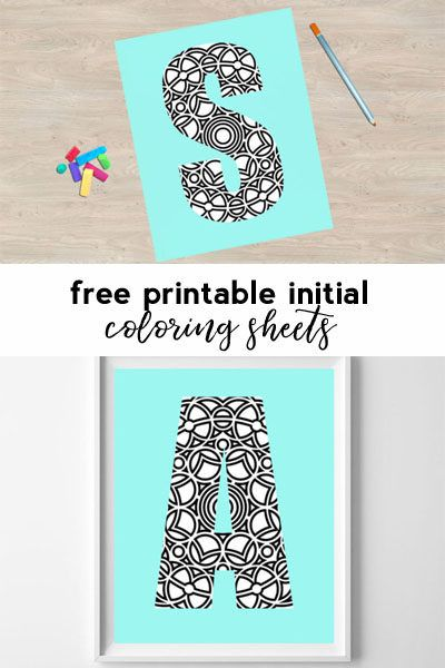 free printable coloring sheets {all 26 letters available} | kids birthday party | coloring page | initial printables | wall art