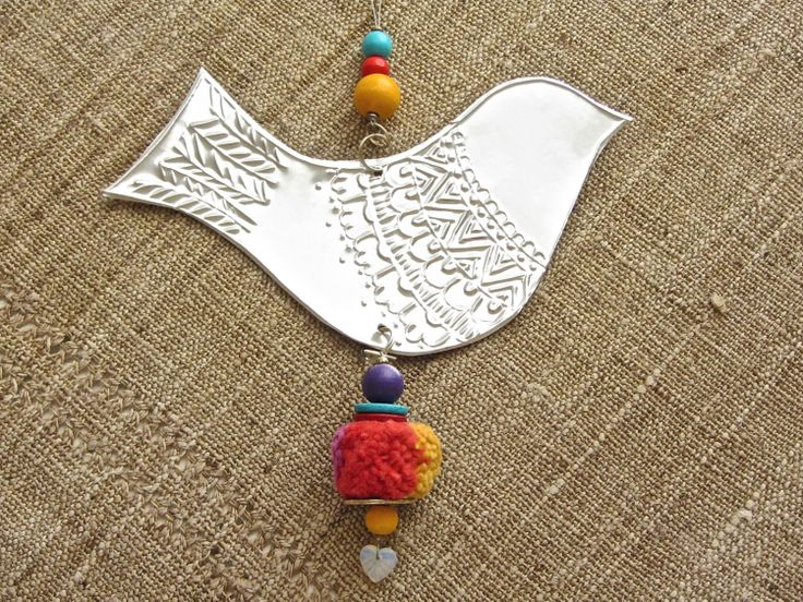Embossed Metal Bird Hanging Decoration Gypsy Hippie by FoilingStar, $26.00