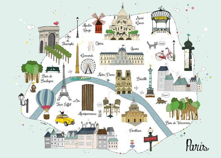 Carte illustrée de Paris, Affiche Carte Paris - Amélie Biggs
